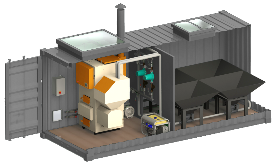 Konto konteinerveida katlu māja ar granulu apkures katliem, granulu noliktavu un katlu apsaistes sistēmu