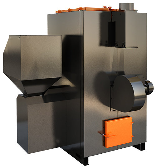 AIRO 70 kW siltā gaisa granulu apkures katls ar jaudas diapazonu: 25 - 70 kW