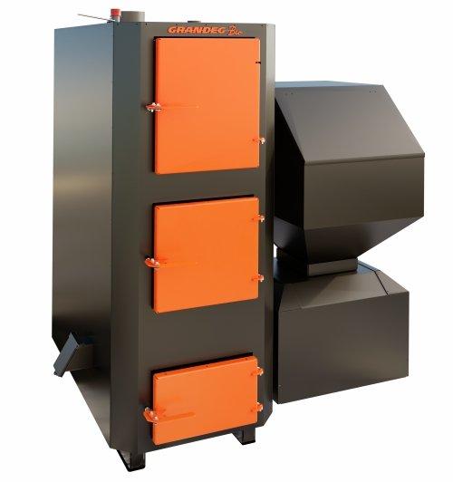 BIO 70 kW granulu / malkas apkures katls ar jaudas diapazonu: 25 - 70 kW