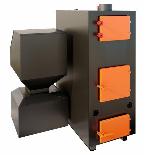BIO 150 kW granulu / malkas apkures katls ar jaudas diapazonu: 50 - 150 kW