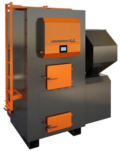 TURBO 500 kW pilnībā automatizēts granulu apkures katls ar jaudas diapazonu: 150 - 500kW