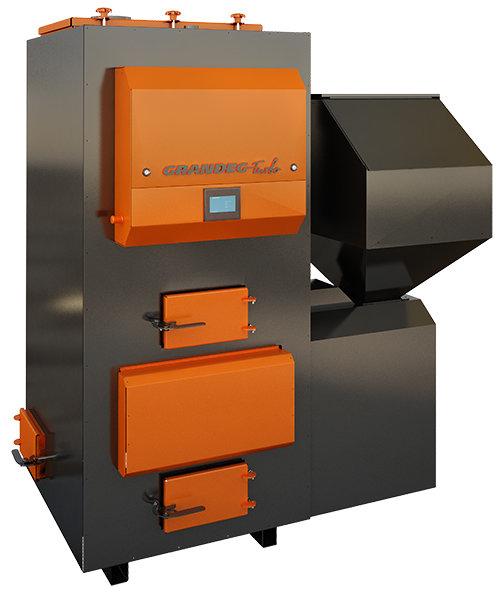 TURBO 70 kW pilnībā automatizēts granulu apkures katls ar jaudas diapazonu: 25 - 70kW