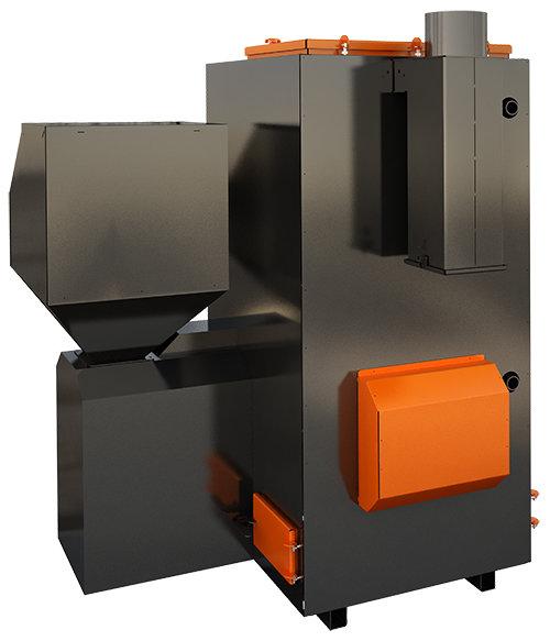 TURBO 100 kW pilnībā automatizēts granulu apkures katls ar jaudas diapazonu: 30 - 100kW
