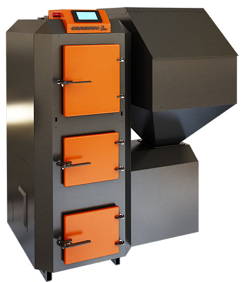 BIO multifunctional pellet heating boiler with firewood burning capability; 15, 25, 40 kW